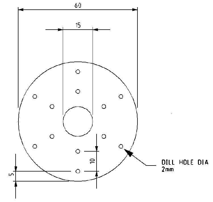 Fig 1   435MHz 1/4 wave ground plane radial element mounting plate.