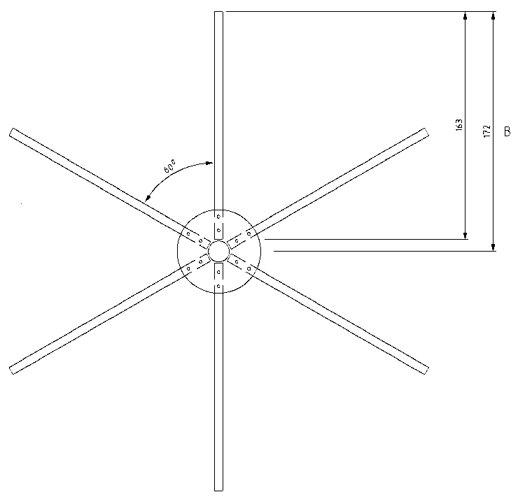 Fig 2   435MHz 1/4 wave ground plane radial element assembled.