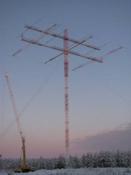 The M7 mast complete with 80m and 160m yagi antenna during final construction.