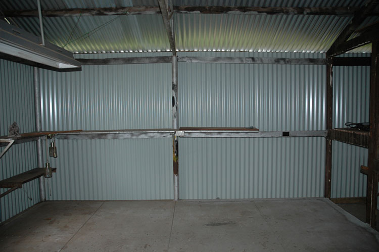 With steel sheets attached the room was striped back for internal framing. 20/09/2008.