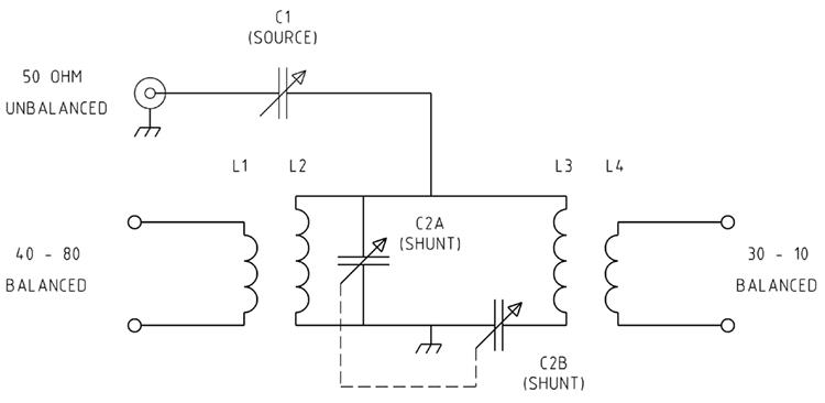 KW-EZee Match on random wire antenna tuner schematic, simple antenna tuner schematic, homebrew antenna tuner schematic, johnson matchbox antenna tuner schematic,